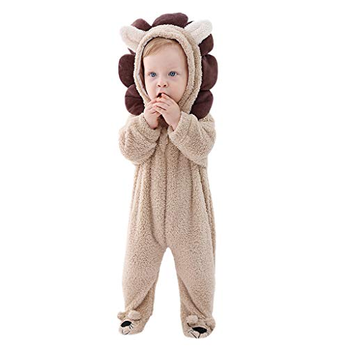 Grenouillères 3D Animal Bébé Combinaison de Neige Polaire Barboteuse à Capuche Hiver Tenues Costume Chaud Mignon Pyjama à Manches Longues Combinaisons 0-24 Mois (18-24Mois, Khaki)