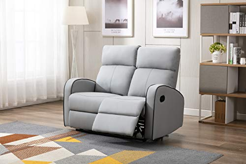 Athon furniture Light Grey Leather Stylish 2 Seater Recliner Sofa