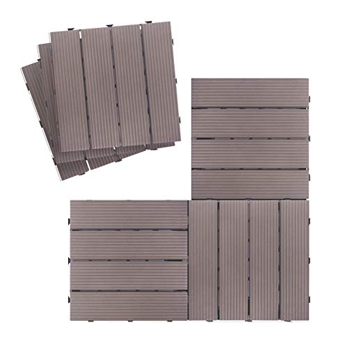 Outdoor Interlocking Flooring Tiles, Weather Resistant and Anti-Slip Patio Pavers, Outdoor Four Slat Plastic Composite Interlocking Composite Decking Tile, 12 Pieces