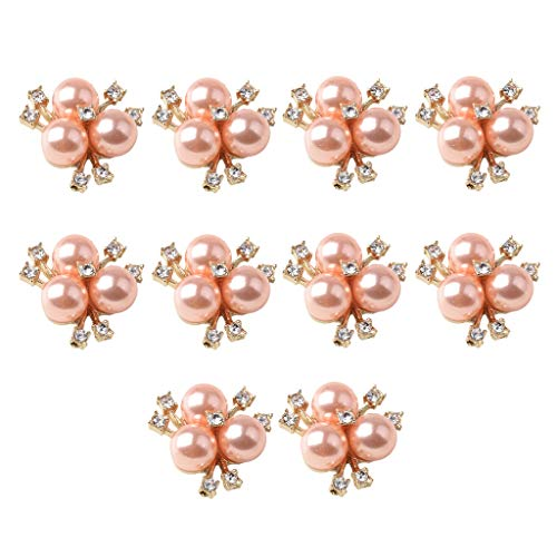 Hellery 10x Diamante de Imitación de Oro Rosa Botón de Perla Resultados de Cristal Dijes Pendientes DIY