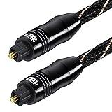Cable de Audio óptico Ultra Claro de transmisión de Sonido Cable óptico Digital de Nailon Trenzado de 24 K Chapado en Oro para Amplificador, Altavoz, Barra de Sonido Negro (5 M)