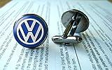 VW Manschettenknöpfe, Volkswagen Manschettenknöpfe, VW-Emblem, Glas, rund, silberfarben, Kunstbild, Schmuck, Charm-Schmuck,...