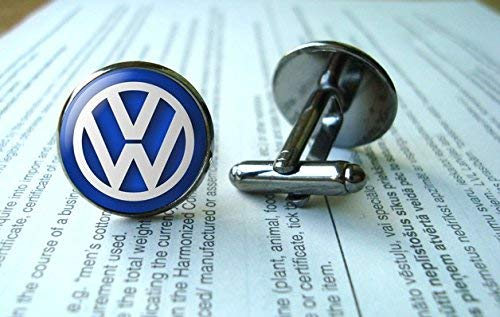 VW-Manschettenknöpfe, Volkswagen-Manschettenknöpfe, VW-Emblem, Glas, rund, silberfarben, Kunst-Bild-Schmuck, Charmschmuck, Hemd-Manschettenknöpfe
