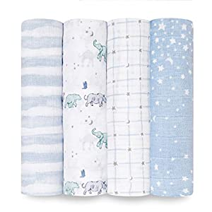 aden + anais Swaddle Blanket, Boutique Muslin Blankets for Girls & Boys, Baby Receiving Swaddles, Ideal Newborn & Infant Swaddling Set, Perfect Shower Gifts, 4 Pack, Rising Star