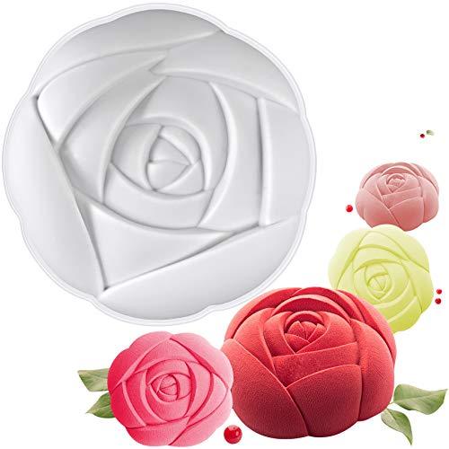 musykrafties Grande Rose Mousse Moule à Cake en Silicone en Forme de Plateau Taille 14,5 x 14,5 x 6,3 cm