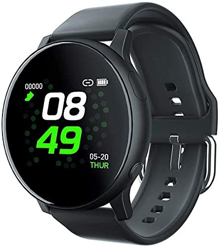 QHG Bluetooth Smart Watch Deporte Ritmo cardíaco Monitor de presión Arterial Rastreador de Fitness Paso Contador de Dispositivos portátiles (Color : Black)
