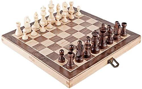 Muyuuu Schachset Ulme Schach, Faltbares Schachset, Nicht magnetisch, Faltschachbox, Geschenk und Brettspiel für Erwachsene und Kinder (klein, groß) Schachbrett (Größe : S)
