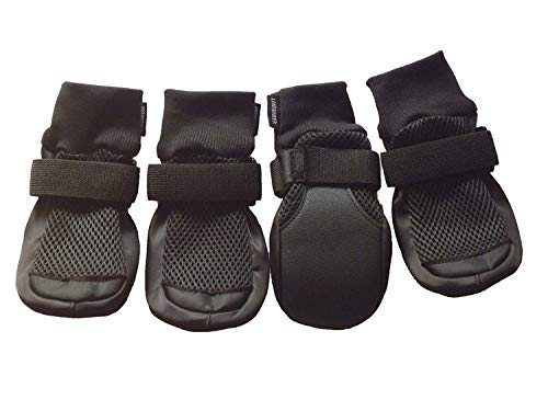 LONSUNEER Dog Boots Breathable and Protect Paws with Soft Nonslip Soles Black Color Size M L XL (Large - Inner Sole Width 2.83 Inch)