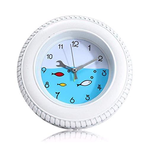 ZhenHe Alarma Estilo Retro Peces del Mediterráneo neumáticos Ronda Reloj de Pared Reloj de Escritorio for casa Decorativa Adecuado para el hogar, Oficina, niños.