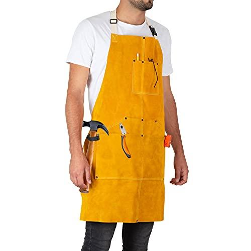 Heavy Duty Leather Welding Apron For Men -Cowhide blacksmith apron 6 Pockets - Fire Resistant Work Apron - Leather Apron For Welders - Blacksmith Apron