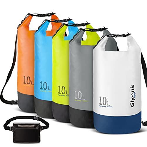 Glymnis Bolsa Estanca Bolsa Impermeable 10 L/20 L con Bolsa Cintura para Rafting Kayak Playa Senderismo Esquí Pesca Escalada y Camping (Blanca, 10 L)