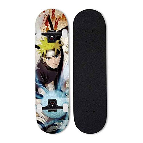 FWZJ Anime Skateboard, Naruto: Uzumaki Naruto, Skateboard Complete Pro Skateboard-Erwachsene Doppelkick-Skateboard 7-Lagen-kanadisches Ahorn, Skill-Skateboard