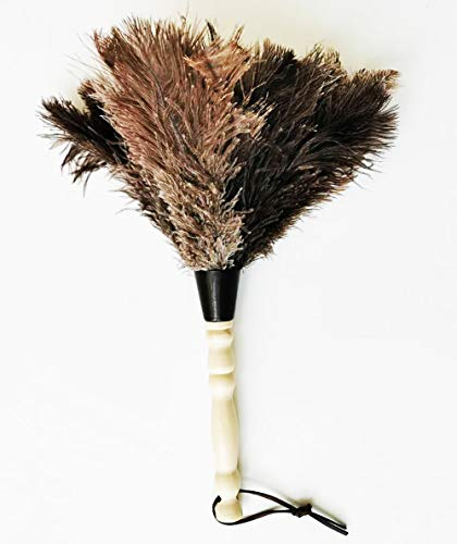 AAYU Premium Ostrich Feather Duster 12-14inches | Natural Duster for Feather Moping and Cleaning Eco-Friendly, Genuine Ostrich with Wooden Handle Easy to Clean Reuse