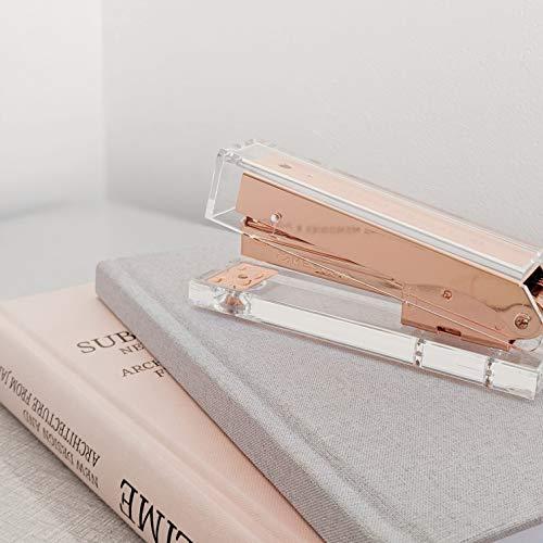 Rose Gold Stapler for Desk - Clear Acrylic Stapler - Cute Stapler for Office Desktop - Designer Stapler - Elegant Desk Accessory - Trendy Novalty Stapler - Pretty Copper Color - Large Lucite Stapler Photo #5