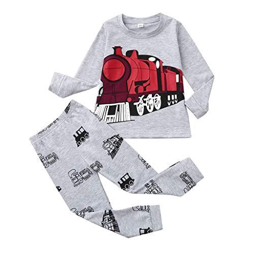 Conjunto de pijamas para bebé y niño, de algodón, manga larga, con estampado de tren de dibujos animados, camiseta y pantalones, conjunto de 2 piezas de ropa de dormir de 1 a 7 años