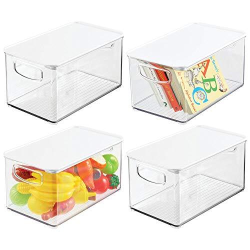 mDesign Juego de 4 organizadores de juguetes # Juguetero grande con tapa de plástico robusto # Caja organizadora apilable para guardar juguetes y manualidades # transparente y blanco