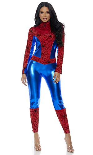 Forplay Women's Metallic Hero Mock Neck Catsuit with Spider Web Print Contrast, Red, Medium/Large