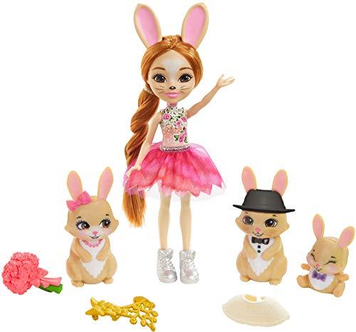 Royal Enchantimals Muñeca con familia de conejos mascota de juguete vestidos de...