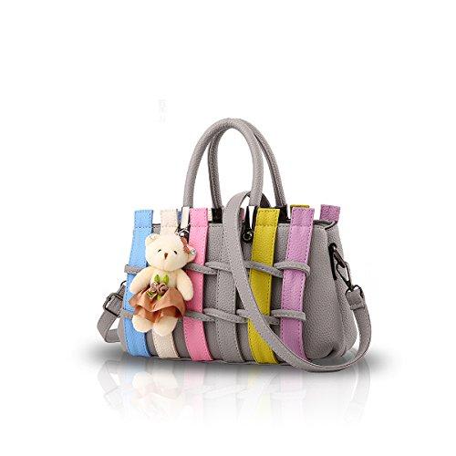 NICOLE&DORIS Femmes Mode Sac à Main coloré Crossbody épaule Sac fourre-Tout Sac à provisions poignées Longues PU pour Dames