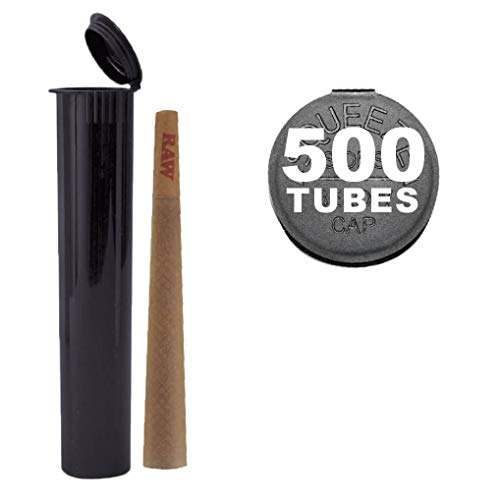 120MM Black Doob Tubes | 500 Bulk Pack | Waterproof Airtight and Smell Proof Blunt Vial Container | Child Resistant with Squeeze Pop Tops | BPA-Free | Ideal for Storing King Size Pre Rolled Raw Cones