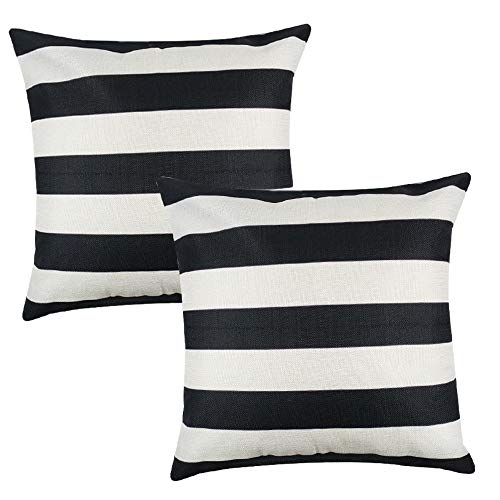 Unibedding Stripes Throw Pillow Cover, Modern Abstract Geometric Striped Monochrome Black White Decorative Farmhouse Pillow Cases Soft Microfiber Cushion Covers for Home Sofa Couch 18x18 inch