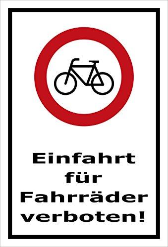 Melis Folienwerkstatt Schild - Fahrräder verboten - 30x20cm   Bohrlöcher   3mm Aluverbund – S00050-079-A -20 Varianten