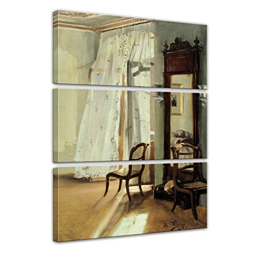 Wandbild Adolph von Menzel Das Balkonzimmer - 90x150cm mehrteilig hochkant - Alte Meister Berühmte Gemälde Leinwandbild Kunstdruck Bild auf Leinwand