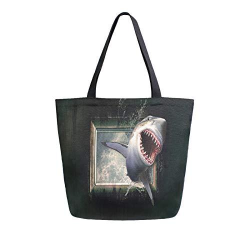 Einkaufstasche aus Segeltuch mit Haifisch-Tapete, Wasser, Meer, Fenster, waschbar, wiederverwendbar, für Lebensmittel, Einkaufen, Reisen, Picknick, Schule