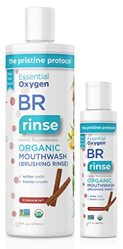 Essential Oxygen Br Certified Organic Brushing Rinse, All Natural Mouthwash, Cinnamint, 16 Oz With 3 Oz Travel Size