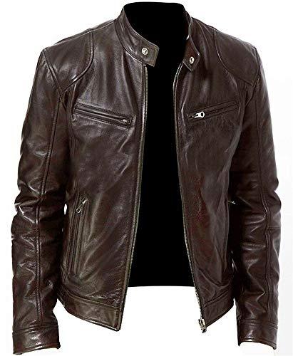 Herren Vintage Motorrad Motorrad Kunstleder Jacke Stehkragen Reißverschluss Slim Fit Mantel Outwear,Braun,M