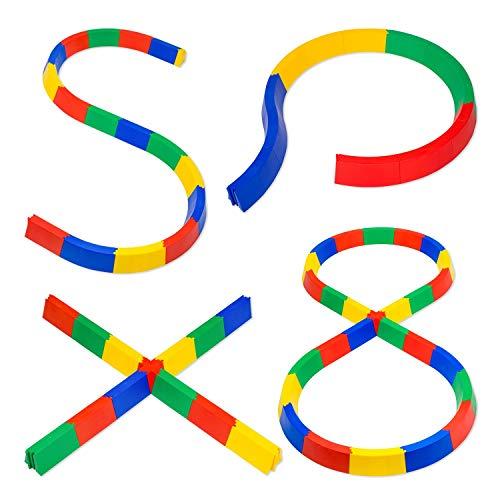 Sport-Thieme Balanciermauer-Set für Kinder | Kurven, 12-teilig, Stecksystem, kombinierbar | Balancierspiel für Drinnen u. Draußen | 3,6 m | Belastbar bis 80 kg | Bunt | Kunststoff