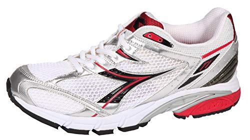 Diadora Mythos AXELER - Zapatillas de running para hombre, color blanco, negro, plateado y rojo, color Blanco, talla 44.5 EU