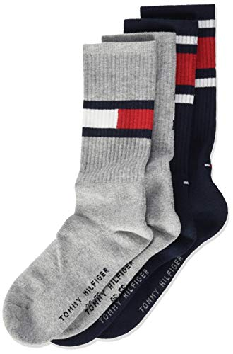 Tommy Hilfiger Unisex Kinder Flag Socken (2er Pack), Middle Grey Melange, 35/38