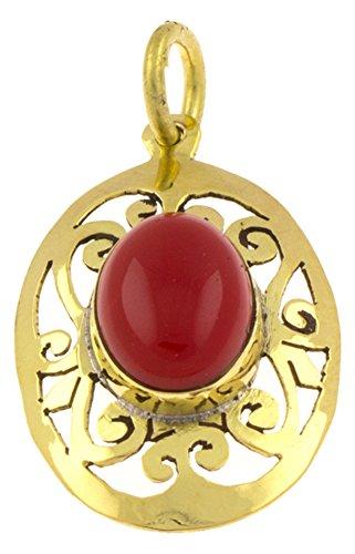 Chic-Net Messing Anhänger Jaspis oval Spiralen Rauten antik golden Kette Schmuck Tribal