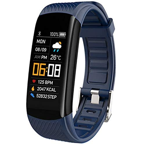 Smart Watch Fitness Tracker with Body Blood Oxygen Heart Rate Blood Pressure Monitor Sleep Monitor Step Counter Pedometer Calorie Counter IP67 Waterproof for Women Men Kids (Dark Blue)