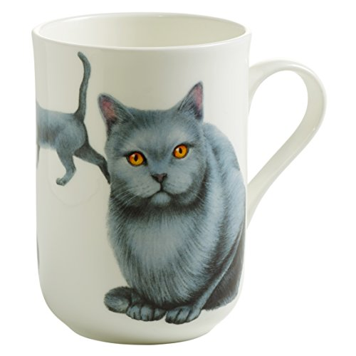 Maxwell & Williams Pets Karthäuser Katze, Geschenkbox, Porzellan, PB0711 Becher, weiß, blau, 10.5 x 7.5 x 10.5 cm