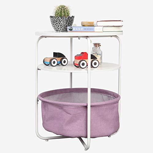ZQY Ronde bijzettafel met opbergmand nachtkastje hoge kruk bureau opslag artikelen magazijn boeken allerlei speelgoed, etc.
