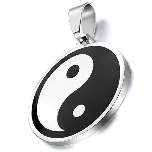 Collar Ying Yang Hombre Mujer Acero Inoxidable Tai Chi Cadena 55cm Joyería de Moda Regalo para Parejas Salud
