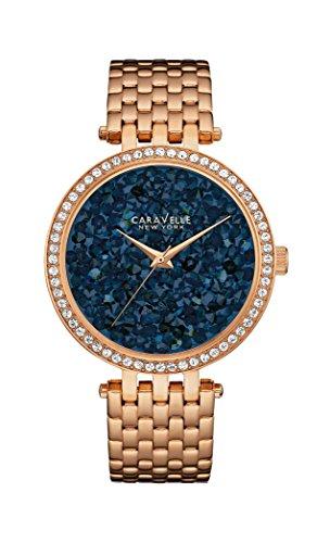 Caravelle New York Damen-Armbanduhr CRYSTALS Analog Quarz Edelstahl beschichtet 44L186