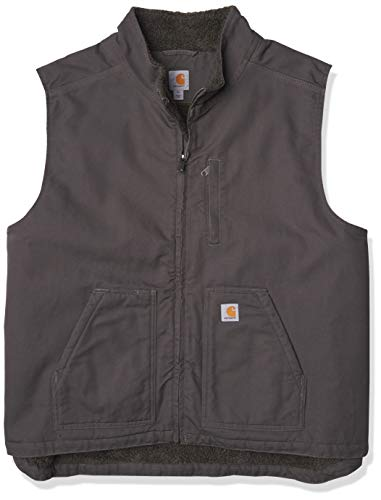 Carhartt Men's Big & Tall Sherpa Lined Mock-Neck Vest, Gravel, 3X-Large/Tall