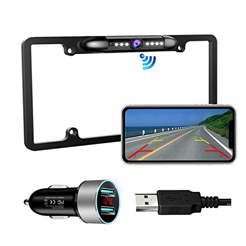 Casoda WiFi Wireless License Plate Backup Camera for iPhone and Android, Ultra Strong Signal Smooth Video Image Never Freezing Clear Picture Suitable for Cars Trucks Trailers SUVs, Easy to Install