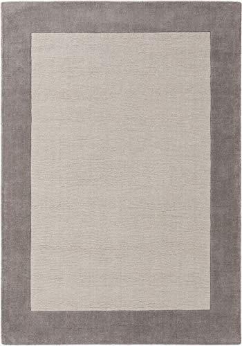 benuta NATURALS Wollteppich New Frame Grau 300x400 cm - Naturfaserteppich aus Wolle