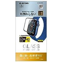 エレコム フルカバーフィルム ガラス 【Apple Watch SE、Series 6、5、4 [40mm]対応】 フレーム付き ブラック AW-20SFLGFRBK