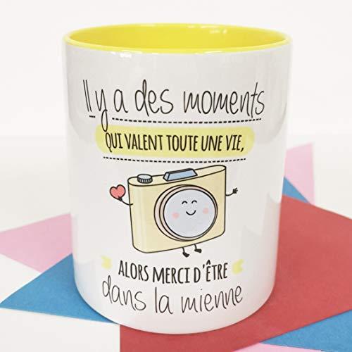 Nos pensées - Tasse Phrases et Dessins Amusants (LL y a des Moments Qui Valent Toute Une Vie, Alors Merci d être dans la mienne) Cadeau Original pour Une Amie