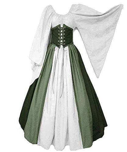 Abaowedding Damen Renaissance Mittelalter Kostüm Trompete Ärmel Gothic Retro Kleid - Grün -...
