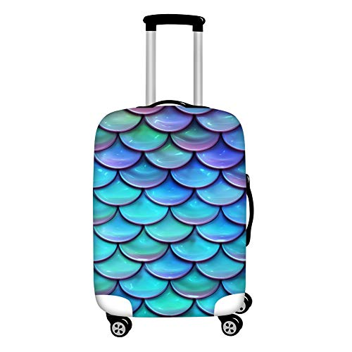 HUGS IDEA Mermaid Fish Scale Luggage Cover Washable Novelty Suitcase Protector Fits for 18/20/22 Inch