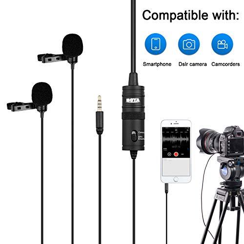 BOYA Micrófonos lavalier duales de Professinal, micrófono de solapa de clip omnidireccional de condensador para cámara, DSLR, iPhone, Android, Huawei, Sony, portátil para entrevista, Youtube, video