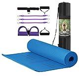 MJ Fitness – Esterilla antideslizante para yoga, fitness, de TPE ecológico y acolchado, 183 x 80 x 8 mm, con bolsa y herramienta elástica multiusos para gimnasia y gimnasio (azul)