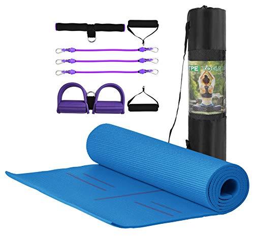 MJ FITNESS - Tappetino Antiscivolo Yoga Fitness in TPE Ecologico e Imbottito, 183cm x 80cm x 8mm, con Borsa e Attrezzo Elastico Multiuso per Ginnastica e Palestra (Blu)