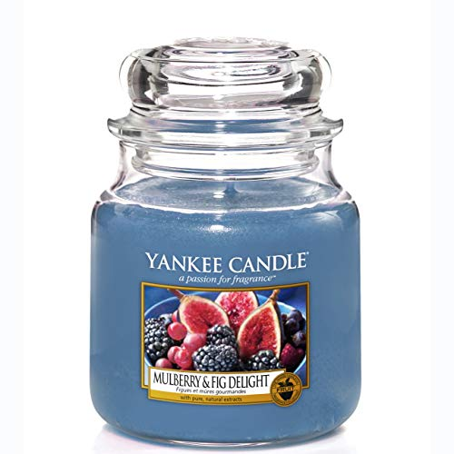 Yankee Candle Duftkerze im Glas (mittelgroß) | Mulberry & Fig Delight | Brenndauer bis zu 75 Stunden